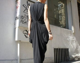SALE Black Kaftan / Maxi Black Dress / Asymmetrical Tunic A03004