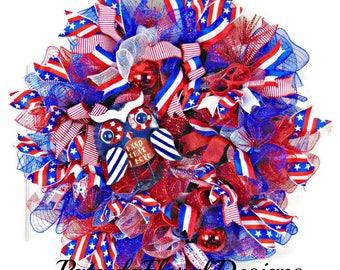 Patriotic Wreath, Patriotic Door Wreath, 4th of July Wreath, Deco Mesh Wreath, July 4th Wreath, 4th of July Decorations, Front Door Wreaths