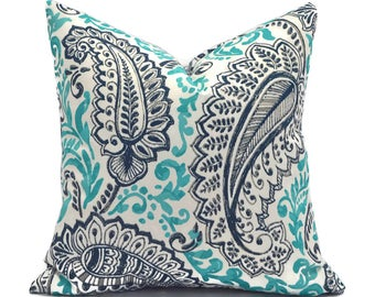 Blue Outdoor Pillows ANY SIZE Outdoor Cushions Outdoor Pillow Covers Decorative Pillows Outdoor Cushion Covers Premier Shannon Oxford/Ocean