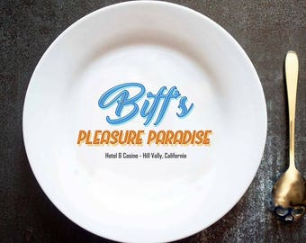 Biff's Pleasure Paradise, Biff Tannen, Back To The Future, Hill Valley, Marty McFly, Doc Brown, BTTF, Hand Printed Plate