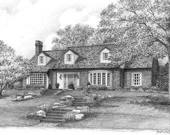 Custom Home Portrait- 5x7 Graphite Pencil Original Your My Home Sketch Drawing Christmas Birthday First Home Anniv Wedd Closing Gifts