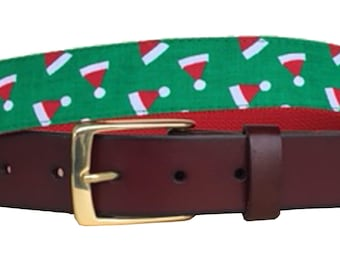 Christmas Green Santa Hat Leather Belt /Ugly Christmas Sweater Belt/Leather Belt /Canvas Belt /Preppy Belt for Men/Green Santa Hat Belt