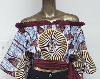 CHYFWAX Collection.  Off-Shoulder Crop Top. Self-Tie Sash. Womens. Handmade.