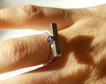 Twisted sterling silver and lapis lazuli omega ring