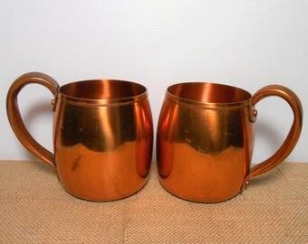Vintage Mugs, Copper, West Bend, Copper Cups, Ale Mug, Copper Mugs, Copper Kitchen, Set of Two