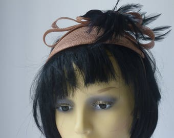 Brown fascinator with Black feathers Reduced