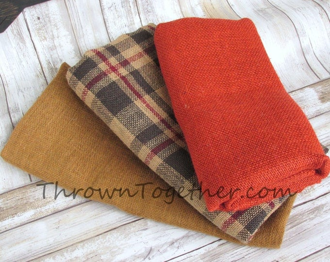 Fall Plaid Burlap Craft Bundle, DIY Burlap Supplies, 3pc Fall burlap craft supplies, Burlap Craft Pack, Burlap Supplies, DIY Craft Supply