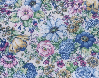 Vintage Pastel Pink Blue Floral Cotton Fabric, Summer Flower Fabric, Joan Kessler Quilting Sewing Fabric