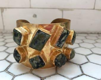 Green Marbled Stones Jeweled Gold Metal Cuff