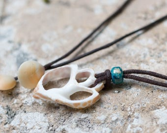 Unisex Shell Necklace On Vegan Leather Cord. 100% Adjustable.