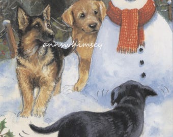 Dog Art Print, Mom and Pups Play With Mr. Snowman  # 563