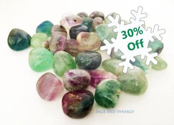 Medium Tumbled Fluorite, Rainbow Fluorite, Healing Gemstone, Healing Crystals, Sage and Synergy, Gem, Energy Rocks, Crystal Healing, Reiki