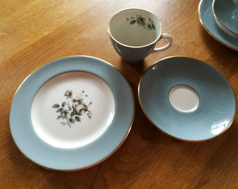 Royal Doulton Trio, Rose Elegans, fine bone china, coffee cup, saucer and side plate