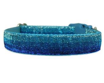 """Glitter Dog Collar 1"""" Baby Blue Dog Collar"""