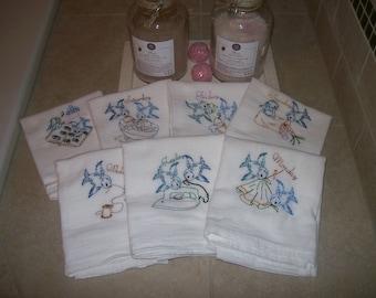 Blue Bird's Vintage Designs -Days of the Week.Embroidered Kitchen Towel Set / 7 Flour Sack Dish Towels / Vintage Style cotton towels
