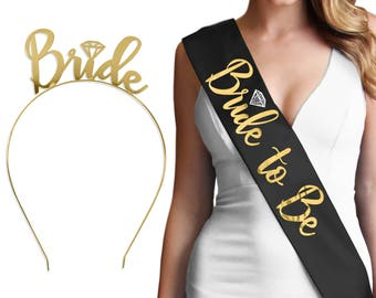 Black & Gold Bride Set - Bride to be Sash and Metallic Gold Bride Tiara, Bridal Gift, Wedding Shower Gift, Bachelorette Decorations