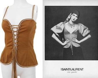 Yves Saint Laurent 1970s Vintage Peasant Lace Up Corset Top c. Russian Collection Brown Cotton Tassel Cord US Size 2-4 XXS-XS
