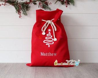 Personalized Extra Large Red Santa Gift Sack, Red Velvet Santa Gift Bag, Gifts from Santa, Grandkids Bag, Family Gift Sack, Personalized Bag
