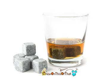 Whiskey Stones Gift Set with Black Pouch, Chilling Stones, Spirits Soapstones, Male Christmas Gift for Drinker or Coworker, Gift for Dad