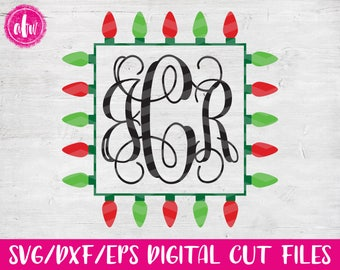 Christmas Lights Monogram Frame Square, SVG, DXF, EPS, Cut File, Vinyl, Vector, Holiday, Tree, Ornament, Elf, Silhouette, Cricut