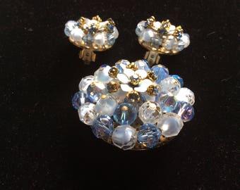Vintage LAGUNA BLUE SET pin brooch & earrings