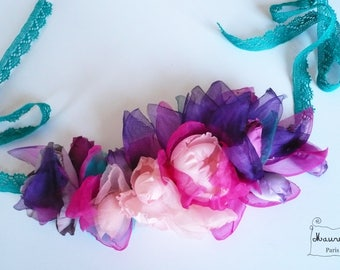Silk pink bohemian Indian and purple wreath