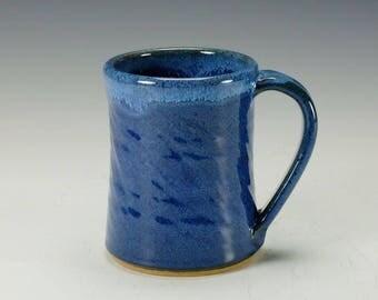 Functional pottery mug, handmade cobalt blue pottery mug, ceramic mug.  Ready to ship.