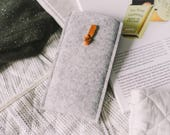 """Pull-out Case for Samsung Galaxy Note 8, Sleeve, leather, wool felt, """"Knot"""", by band&roll"""