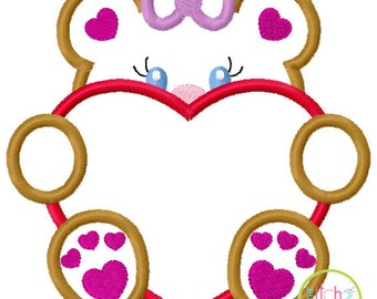 Valentines Peeker - Girl Bear with Heart - custom Valentine shirt 2