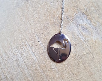 Flamingo necklace  Flamingo Jewellery Flamingo Gift Silver Flamingo Bird Jewelry Animal Necklace