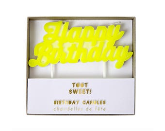 Neon Yellow Happy Birthday Candle - cake topper treat topper
