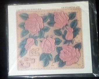 Vintage Craftaid No.6591 Countess Clutch Purse Roses Leatherworking Template Tandy #76591-00