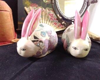 Pair of Andrea by Sadek Ceramic Bunnies Rabbits