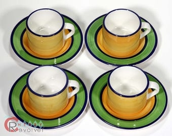 Ceramica Ternana Mid Century Set of 4 Cups Saucers Coffee Yellow Blue Green Modern Made in ITALY