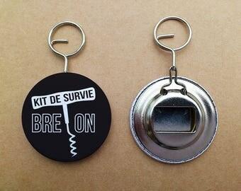 """Keychain bottle opener """"Breton Survival Kit"""""""