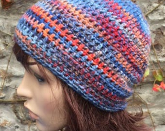 Crochet Hand Spun Shetland Wool Hat in Blues/Orange/Red