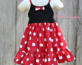 3t RTS Lil Minnie strappy sundress, Twirly Minnie Mouse Inspired, Dress Up, Every Day Play Wear, Handmade,Minnie Mouse birthday