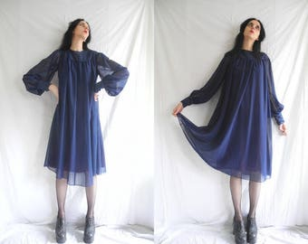 60's hippie dark blue sheer trapeze/flared/swing dress with balloon sleeves and lace contrasts