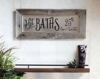 Rustic Hot Baths Sign || Barnwood, Farmhouse Sign, Bathroom Wall Decor, Bathroom Sign, Galvanized Metal, Bathroom Decor, Reclaimed Wood Sign