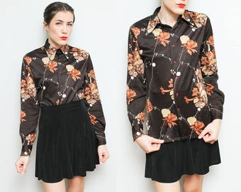 70s Brown Disco Shirt // Chemise Et Cie Button Down Floral Blouse // Long Sleeve Polyester Collared Top Unisex Size Small Medium