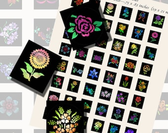 Flowers, Floral Nebulas, SCRABBLE TILE SIZE (.75 x .83 Inches or 19 x 21 mm), 24 Illustrations Included