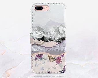 iPhone 7 Wallet Case iPhone 7 Plus Wallet Case Mountain iPhone 7 Folio Case iPhone 7 Plus Folio Case iPhone Faux Leather Wallet Case FC9