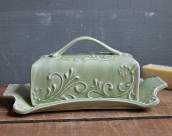 Butter Dish, Winter Green, handmade ceramic, lidded, Mothers Day gift, present, Made to Order