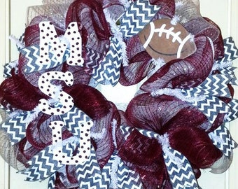 MSU wreath, Mississippi State Wreath, MSU door hanger, Mississippi Collegiate Wreath, Team spirit wreath, Football wreath