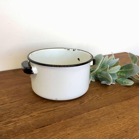 Enamel Pot - Vintage Enamelware - Farmhouse Kitchen Decor - White Enamelware - Rustic Country Kitchen Decor - Outdoor Garden Decor