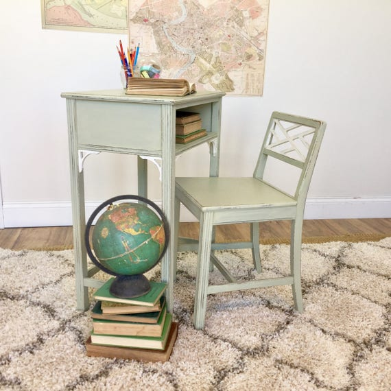 Vintage Telephone Table - Distressed Furniture - Nightstand Table - Kids Wooden Table and Chair - Small Table with Chair, Nursery Furniture
