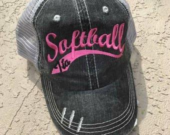 Softball Swish Distressed Trucker Hat