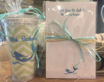 Personalized mermaid notepad, tumbler and pen set.  mermaid personalized gifts