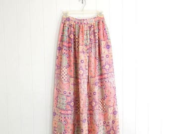 ON SALE 1970s Boho Maxi Skirt Psychedelic Pink FLORAL High Waisted Floor length skirt Extra Small Xs