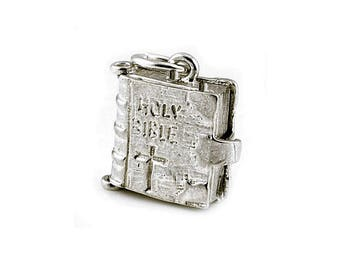 Sterling Silver Opening Holy Bible Charm For Bracelets
